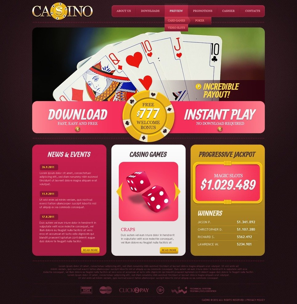 casino websites templates