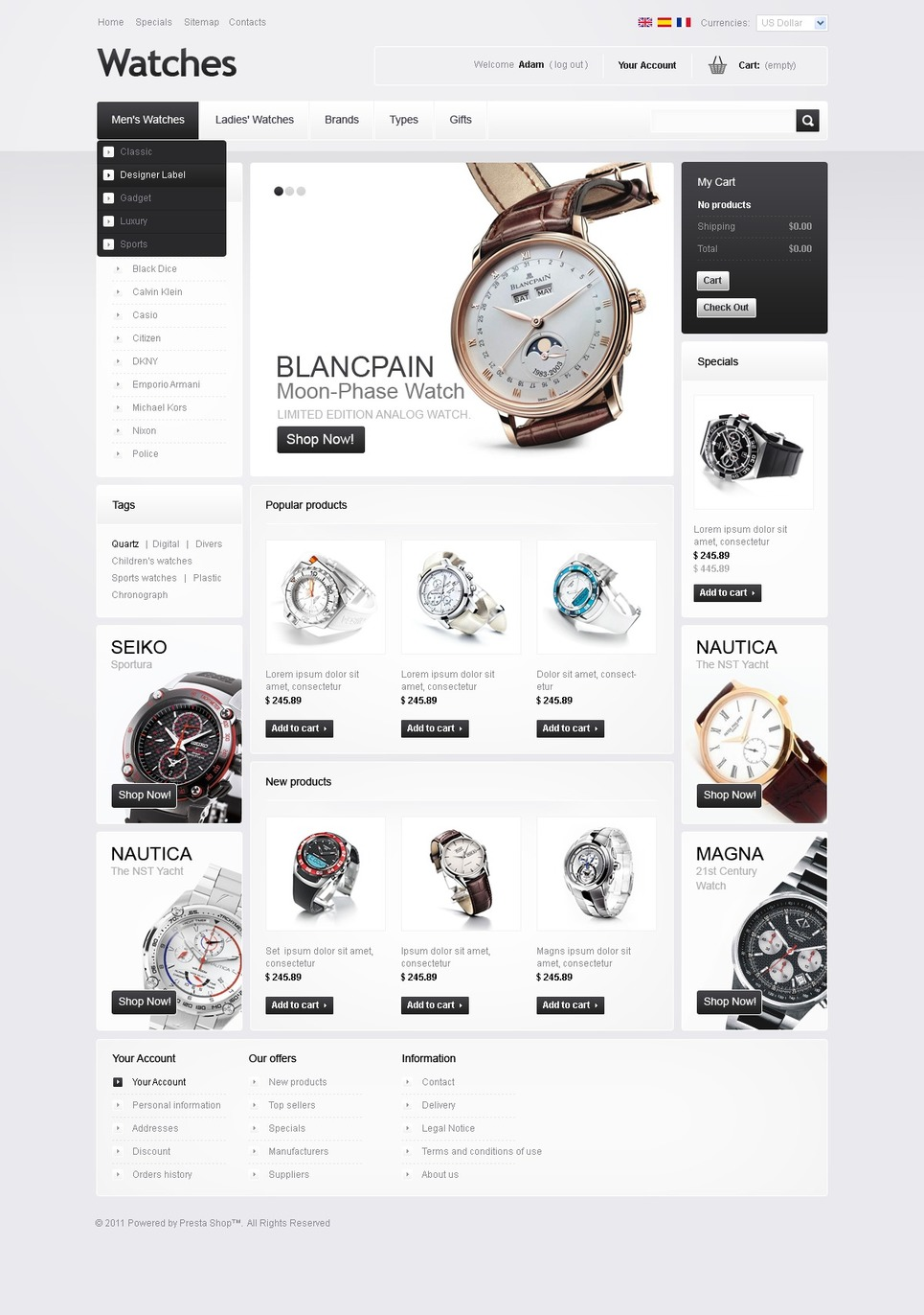 Watches Facebook Flash CMS Template New Screenshots BIG