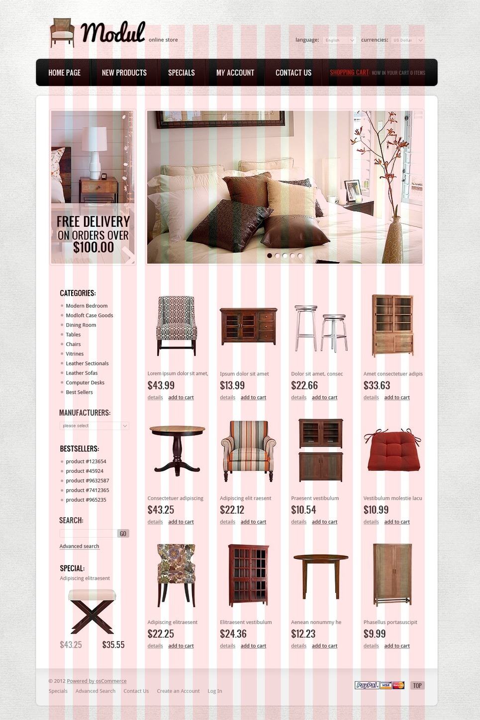 Cute Pink Wallpaper Furniture OSCommerce Theme