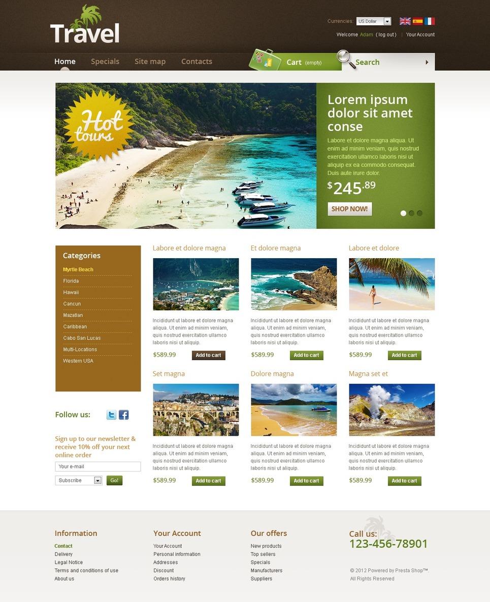 Thrilling Travel Online PrestaShop Theme