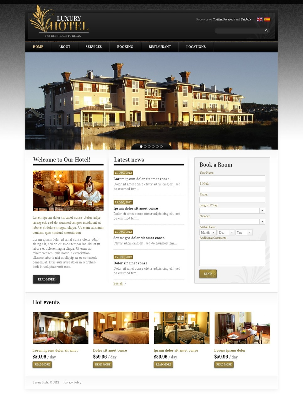 Hotels website template 37800 for Hotel luxury website
