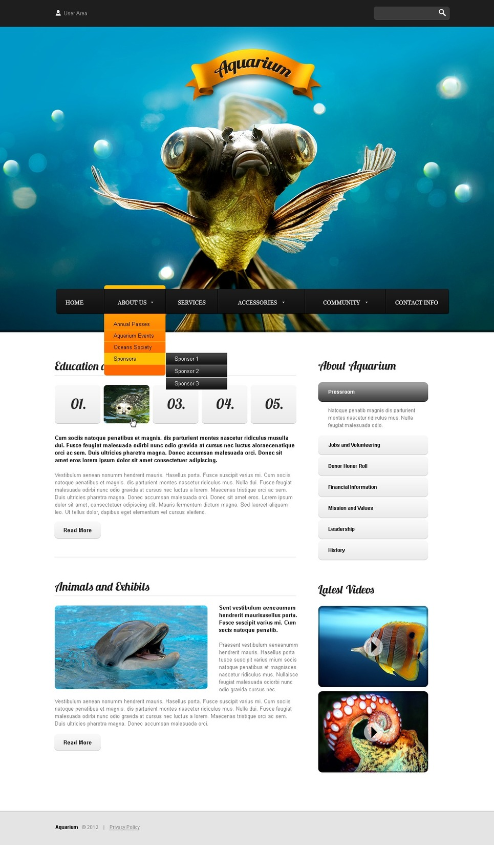 Fish Website Template New Screenshots BIG