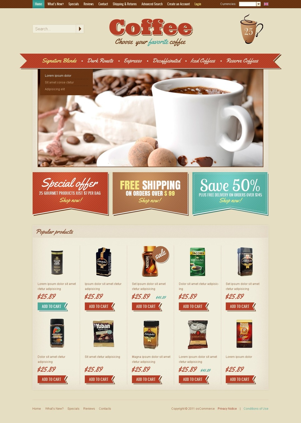 coffee shop oscommerce template web design templates website templates download coffee shop. Black Bedroom Furniture Sets. Home Design Ideas