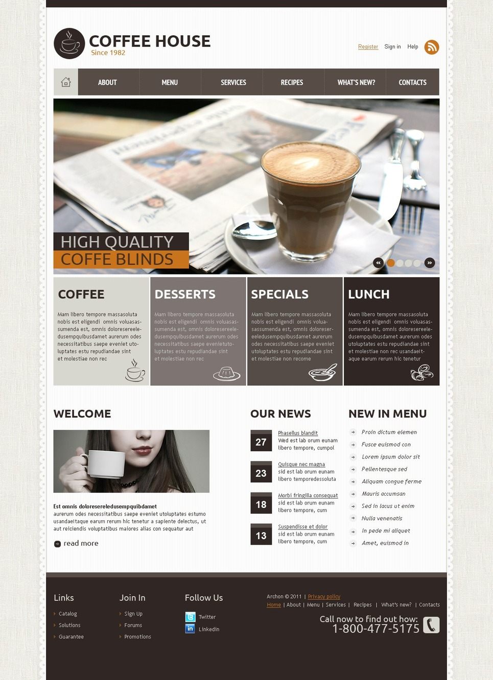 Coffee Shop Joomla Template New Screenshots BIG