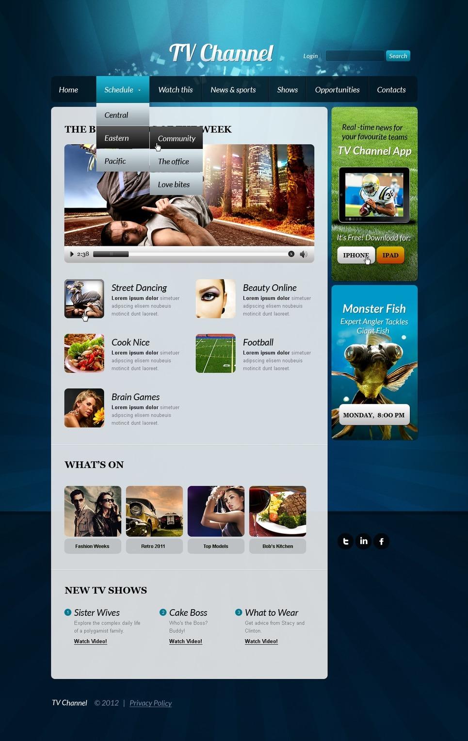 TV Channel Website Template New Screenshots BIG