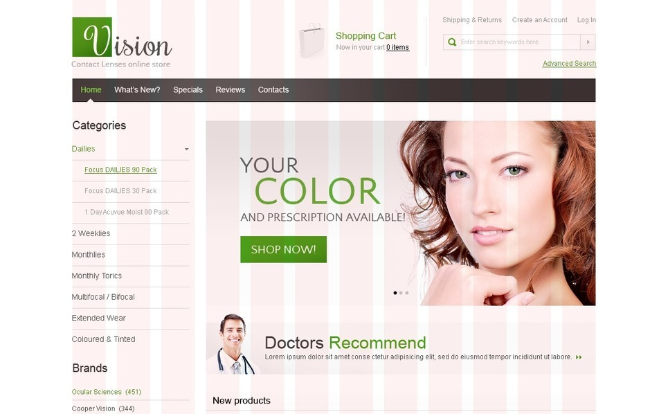 Optometrist's OsCommerce Template New Screenshots BIG