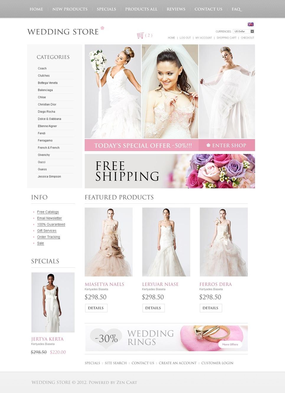 Wedding Must Haves ZenCart Template New Screenshots BIG