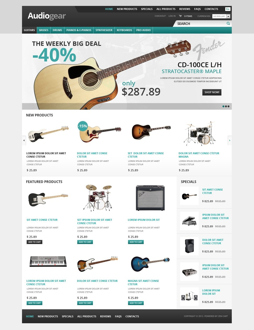 Music Store ZenCart Template New Screenshots BIG