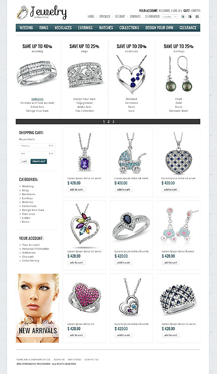 Jewellery online stores - Luminous Online Jewellery Store PrestaShop Theme