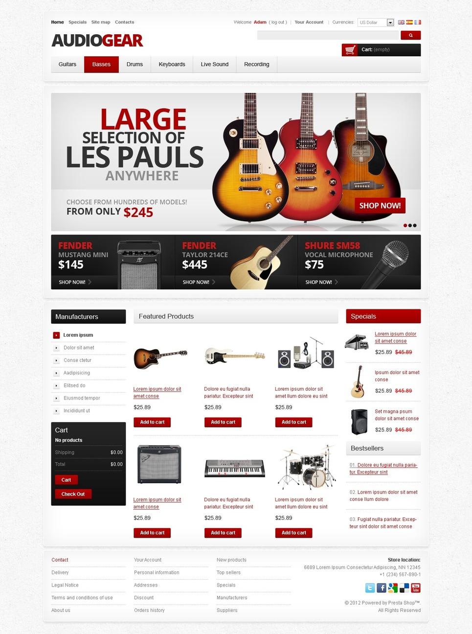 Best Musical Instruments & Equipment PrestaShop Theme