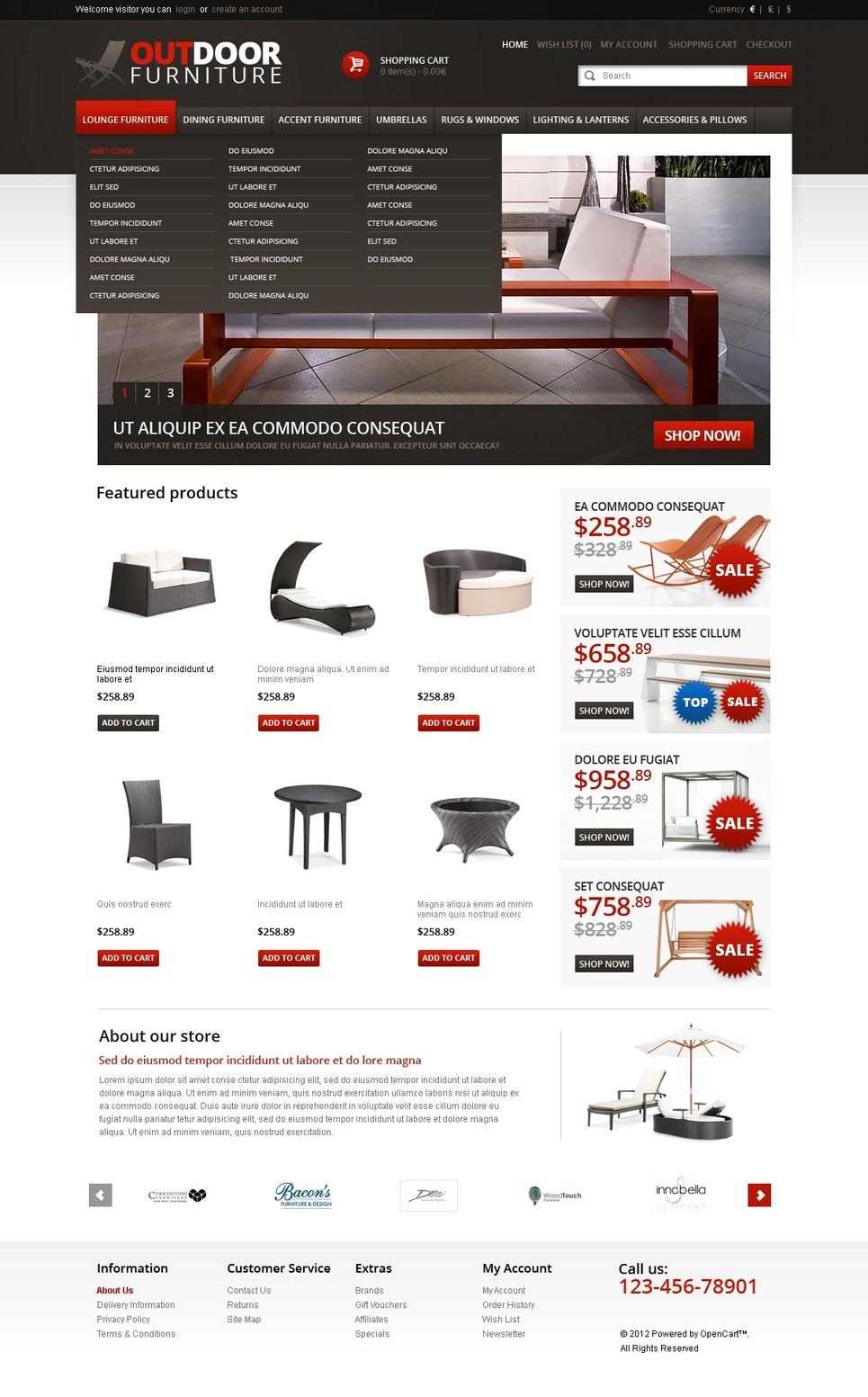 Furniture OpenCart Template New Screenshots BIG