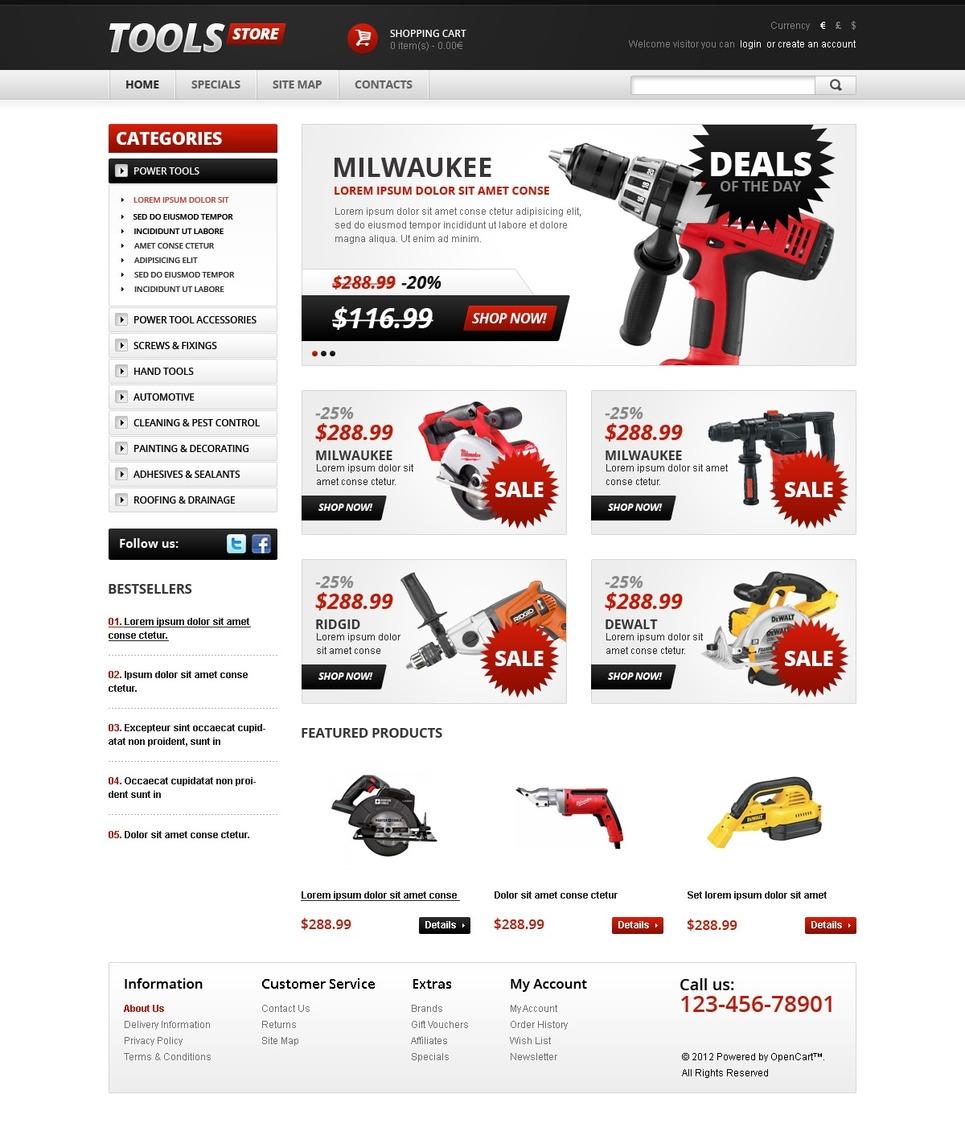 Tools & Equipment OpenCart Template New Screenshots BIG