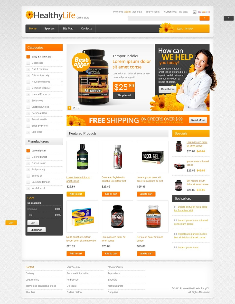 Drugs / Products for Health PrestaShop Theme New Screenshots BIG