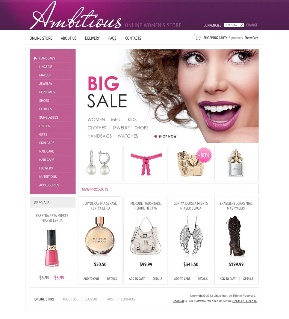 Women's Store VirtueMart Template New Screenshots BIG