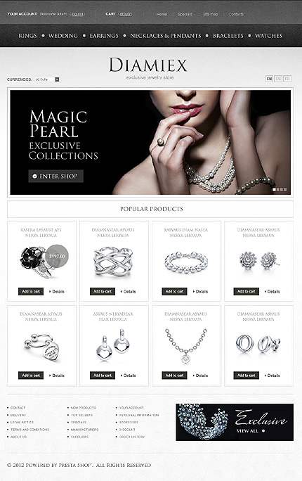 Diamiex - Magic Pearl Online Jewellery Store PrestaShop Theme