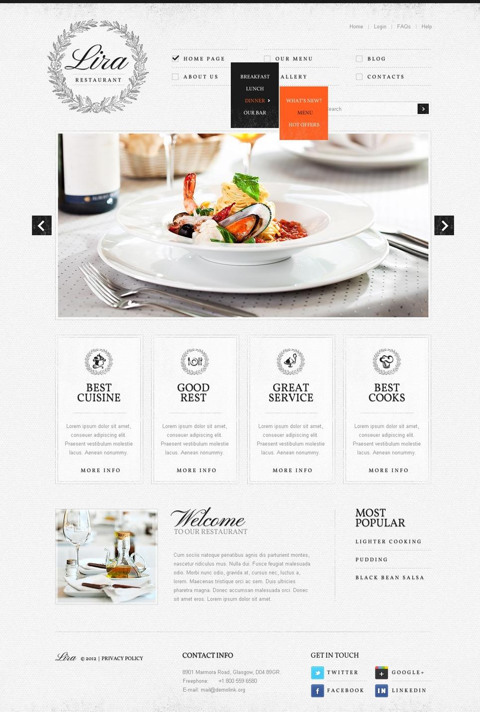 Cafe and Restaurant Joomla Template New Screenshots BIG