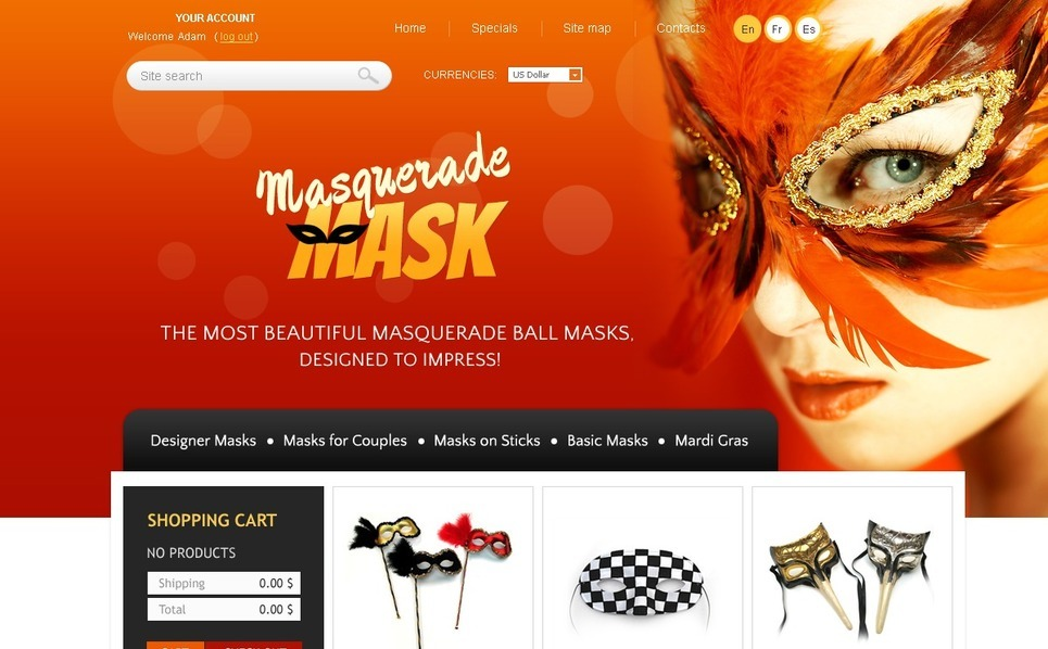 Masquerade masks PrestaShop Theme New Screenshots BIG