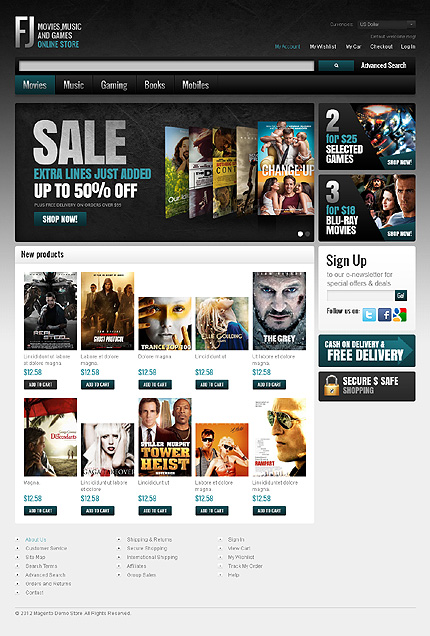 Online Store - Interesting DVD Store Magento Theme