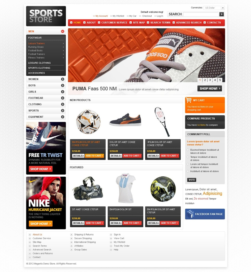 Sports Store Magento Theme New Screenshots BIG