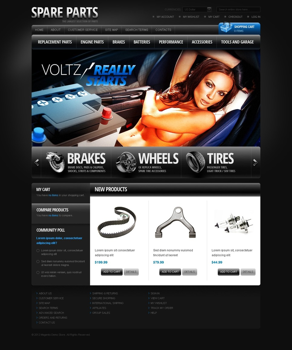 Auto Parts Magento Theme New Screenshots BIG