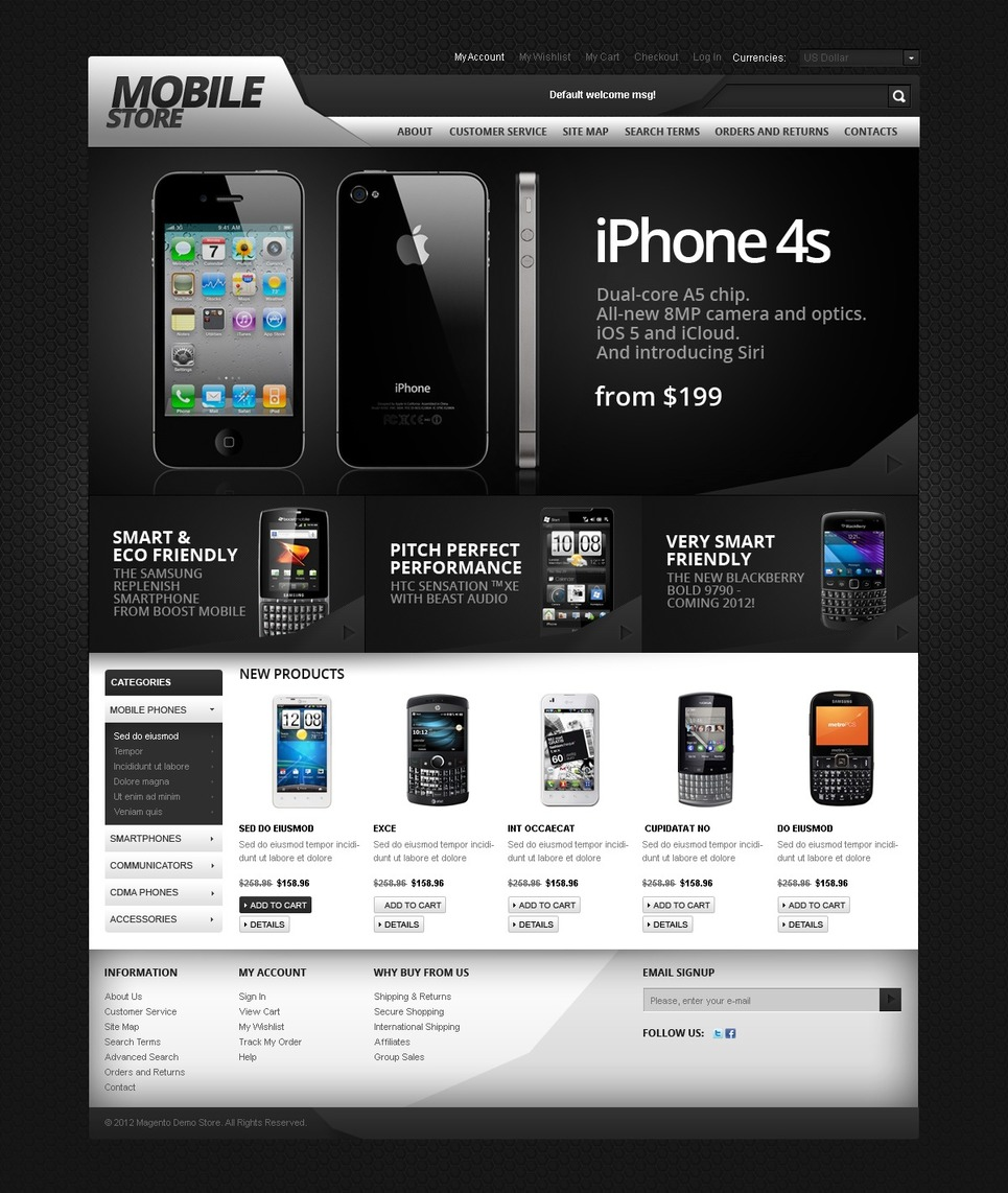 Excellent Mobile Store Magento Theme