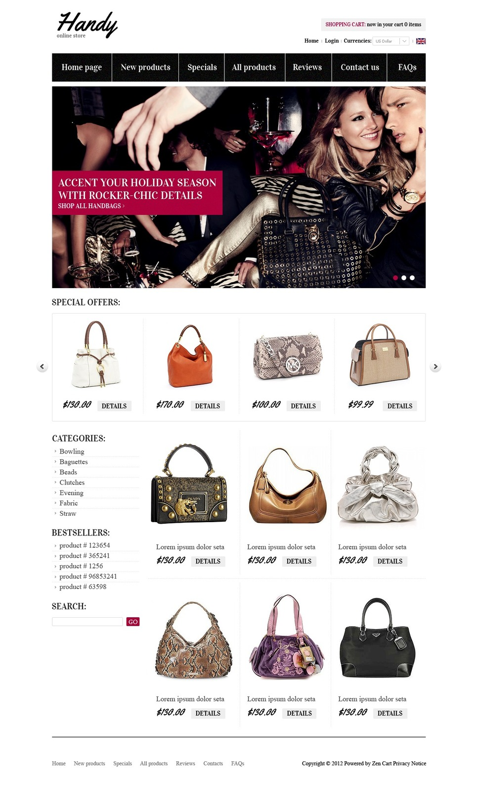 Bags & Purses ZenCart Template New Screenshots BIG