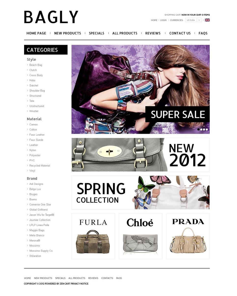Handbag Boutique ZenCart Template New Screenshots BIG