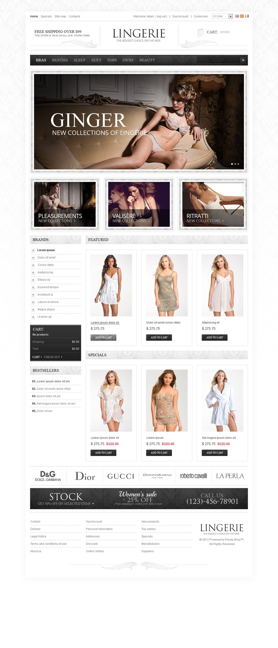 Feminine Lingerie & Underwear PrestaShop Theme New Screenshots BIG