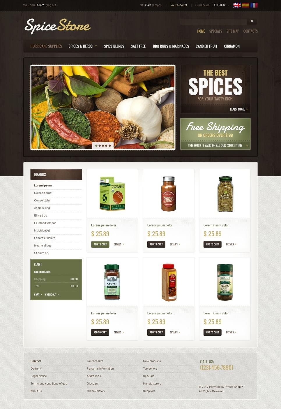 Spices & Herbs PrestaShop Theme New Screenshots BIG
