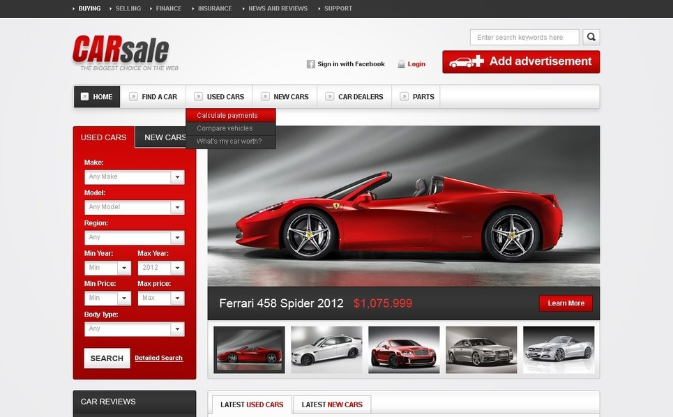 New & Used Cars Website Template New Screenshots BIG
