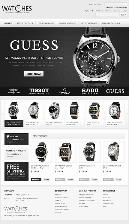 Watches - Gorgeous Watches Store Magento Theme