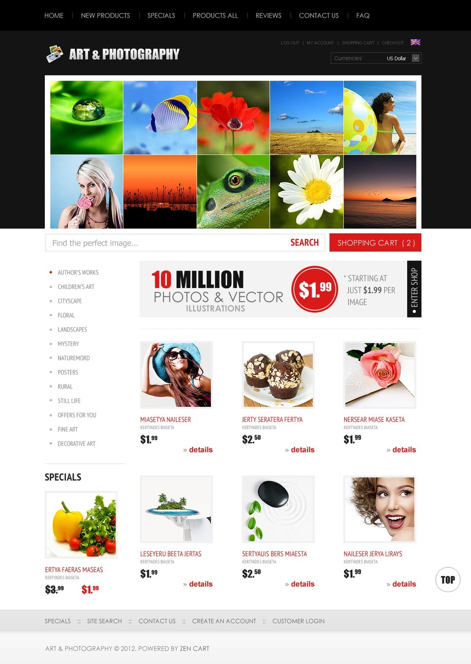 Image Store ZenCart Template New Screenshots BIG