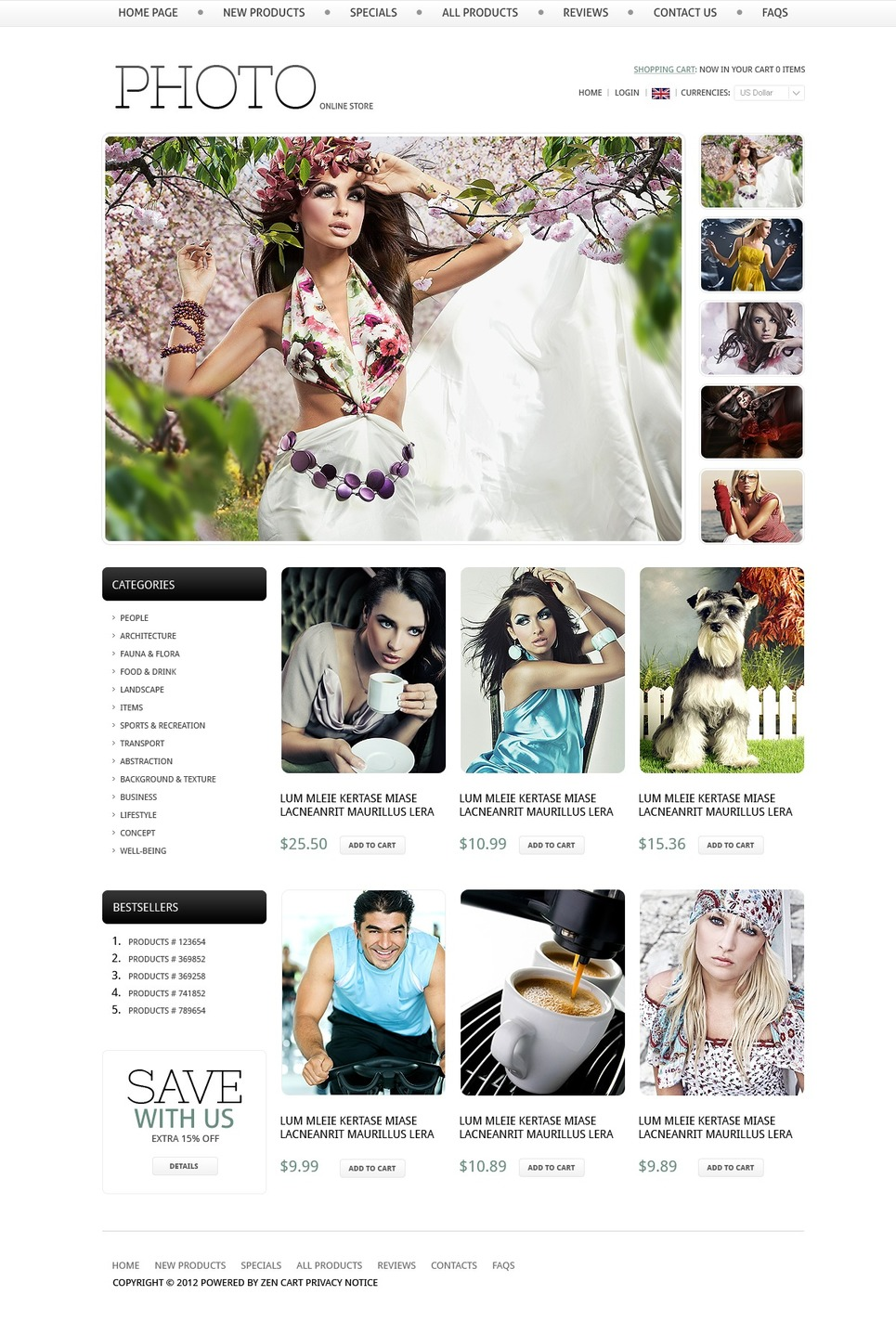 Online Photo Store ZenCart Template New Screenshots BIG
