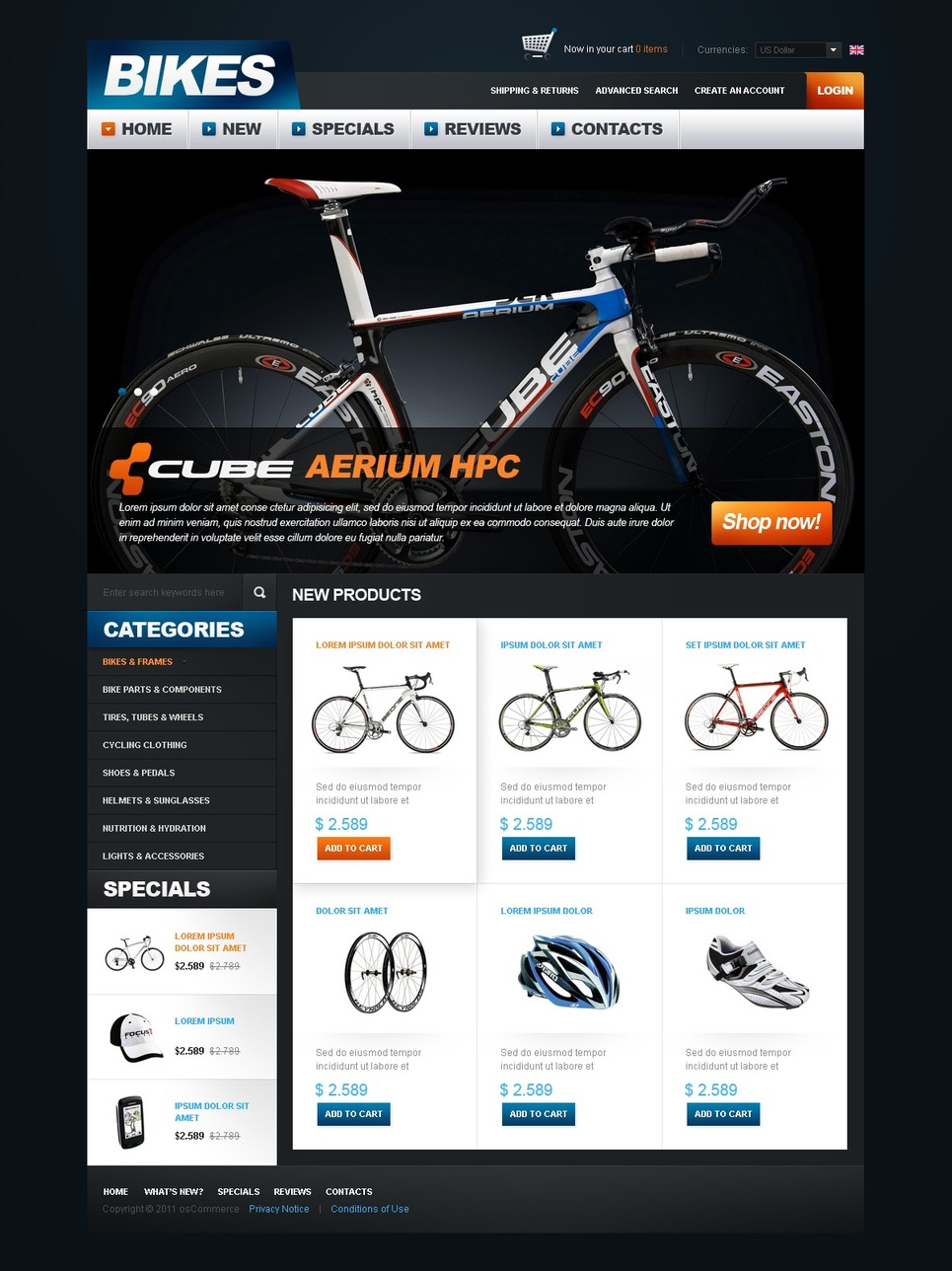 Bikes Store OsCommerce Template New Screenshots BIG