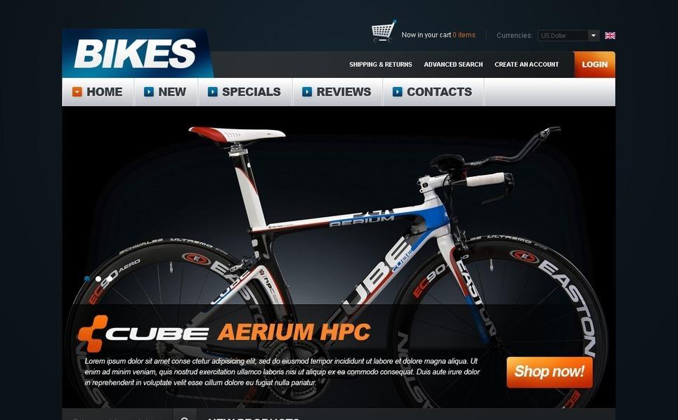 Bikes Store OsCommerce Template New Screenshots BIG