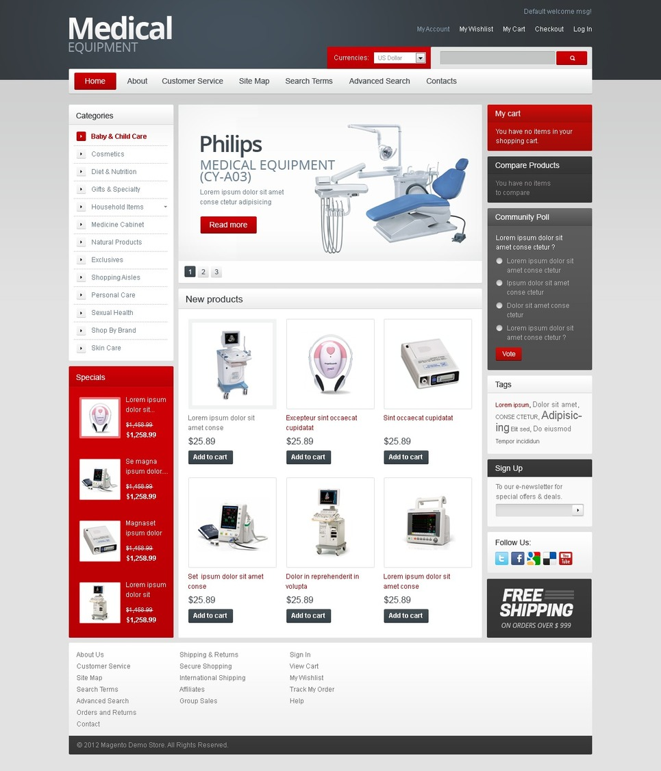 Equipment for Hospitals Magento Theme New Screenshots BIG