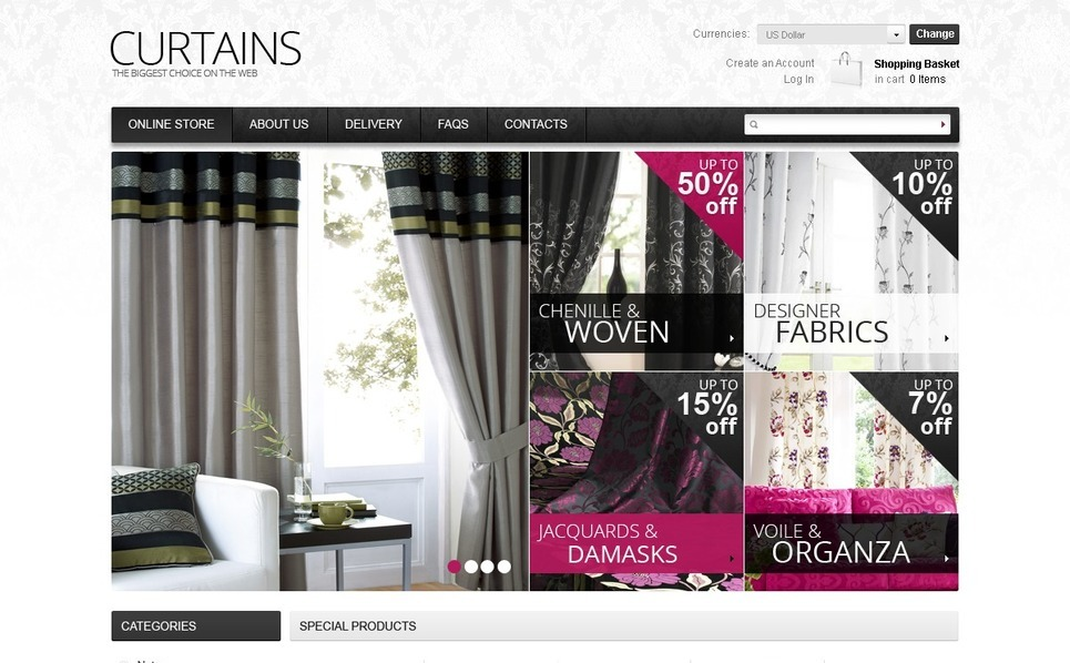 Curtains for Your Windows VirtueMart Template New Screenshots BIG