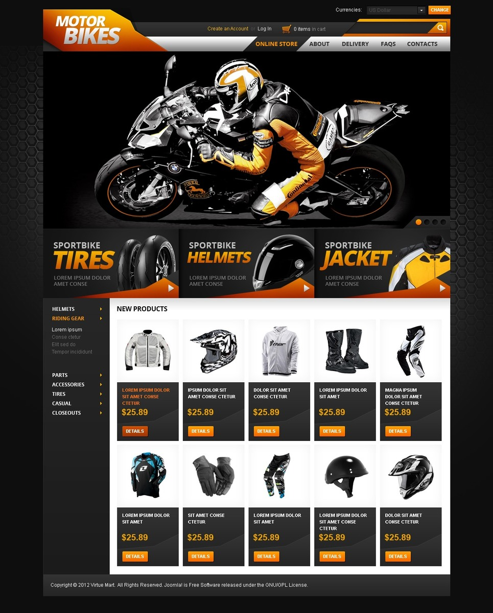 Everything for Bikers & their Bikes VirtueMart Template New Screenshots BIG