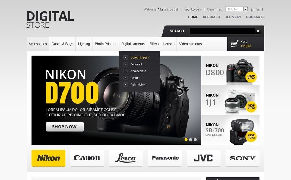 Digital Cameras PrestaShop Theme New Screenshots BIG