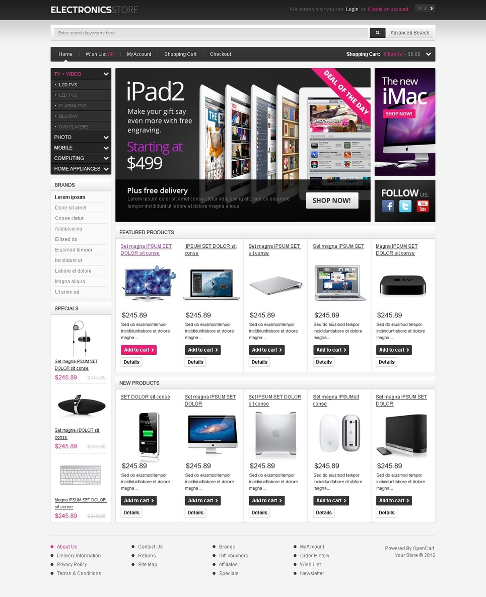 electronic appliances opencart template web design templates website templates download. Black Bedroom Furniture Sets. Home Design Ideas
