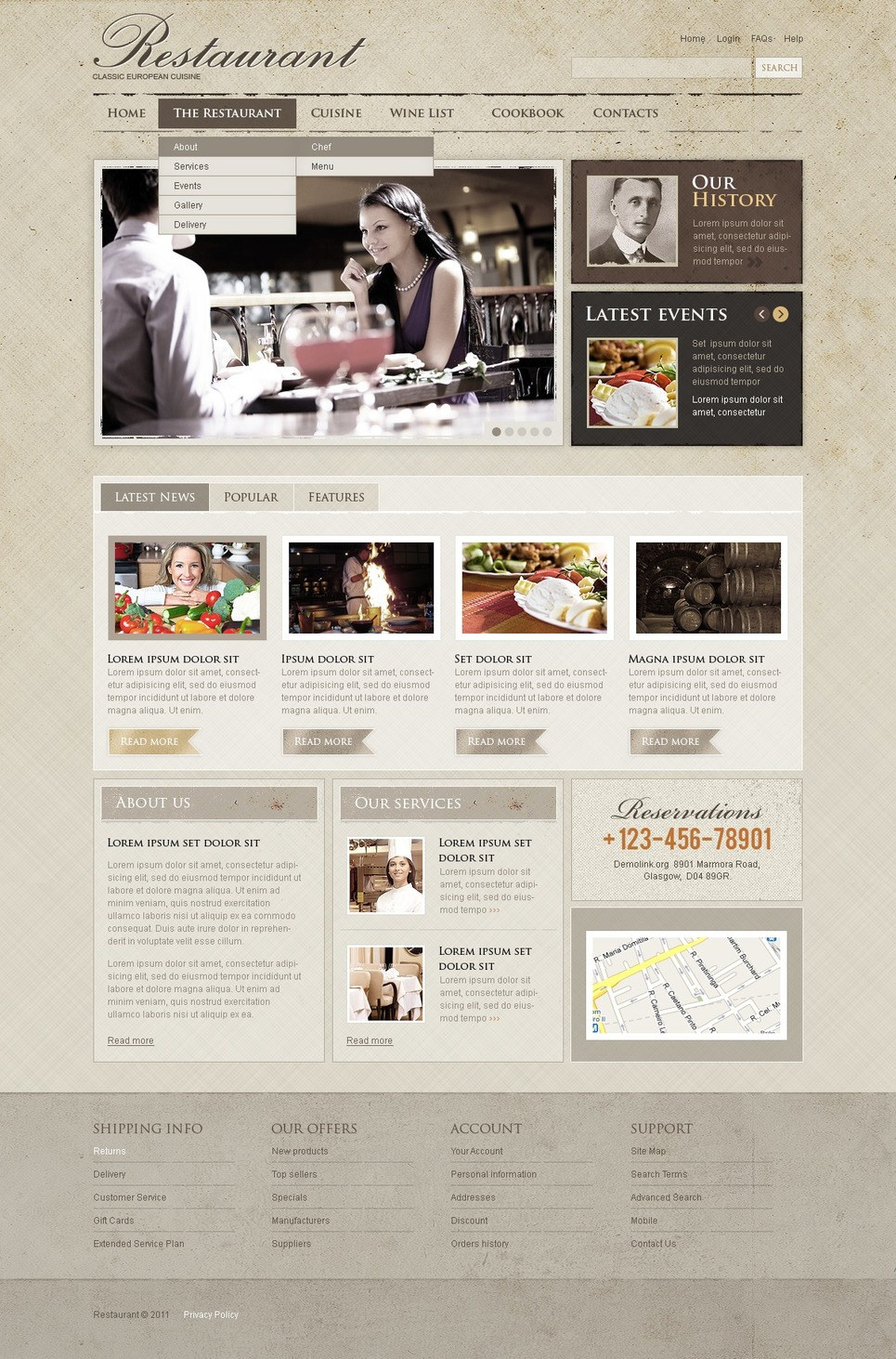 Cafe and Restaurant Flash CMS Template New Screenshots BIG