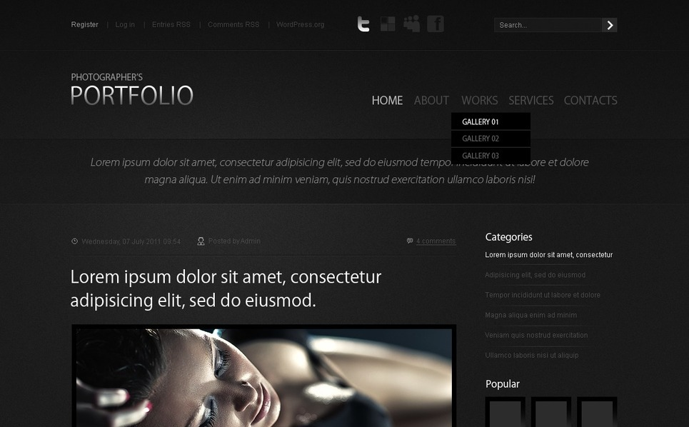 Photographer Portfolio Flash CMS Template New Screenshots BIG