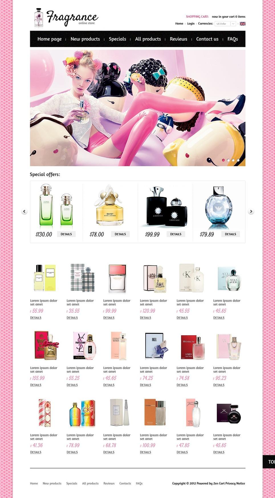 Aroma Shop ZenCart Template New Screenshots BIG