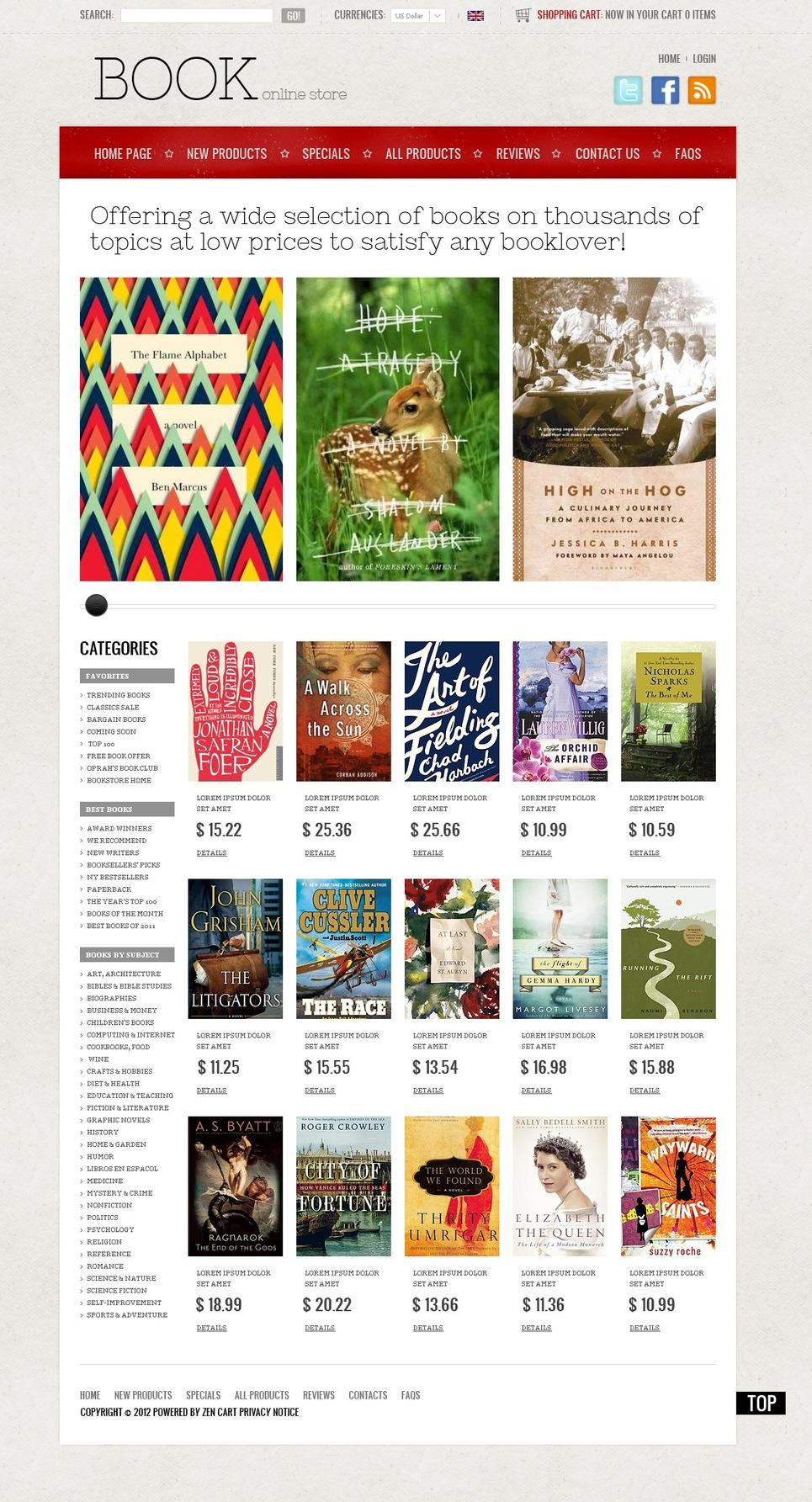 Books Online ZenCart Template New Screenshots BIG