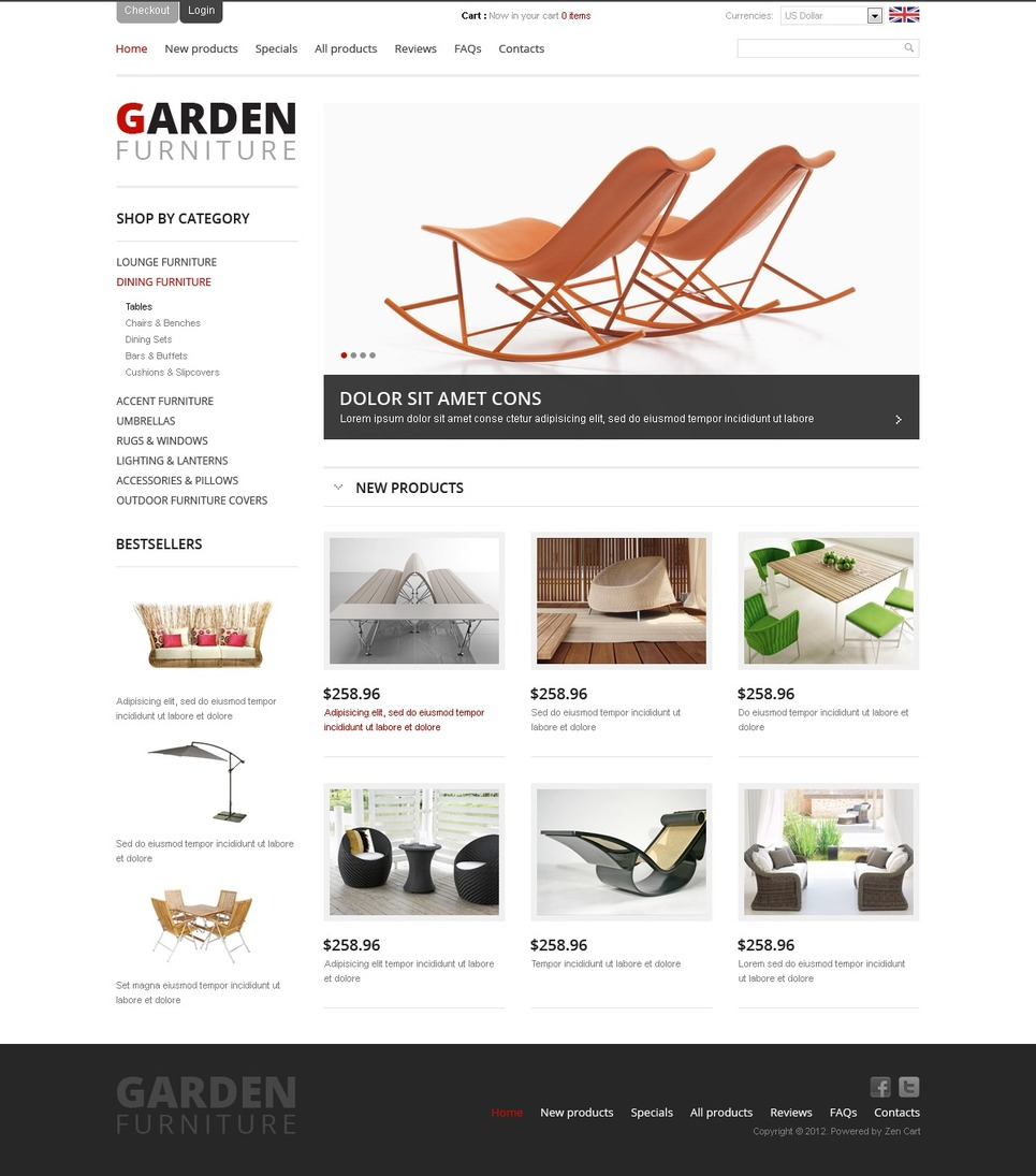 Garden Furniture ZenCart Template New Screenshots BIG