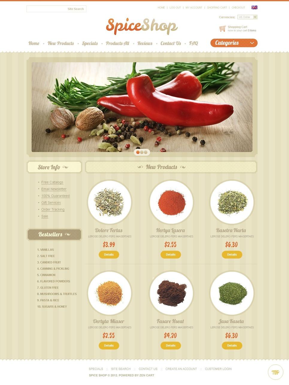 Spice Store ZenCart Template New Screenshots BIG