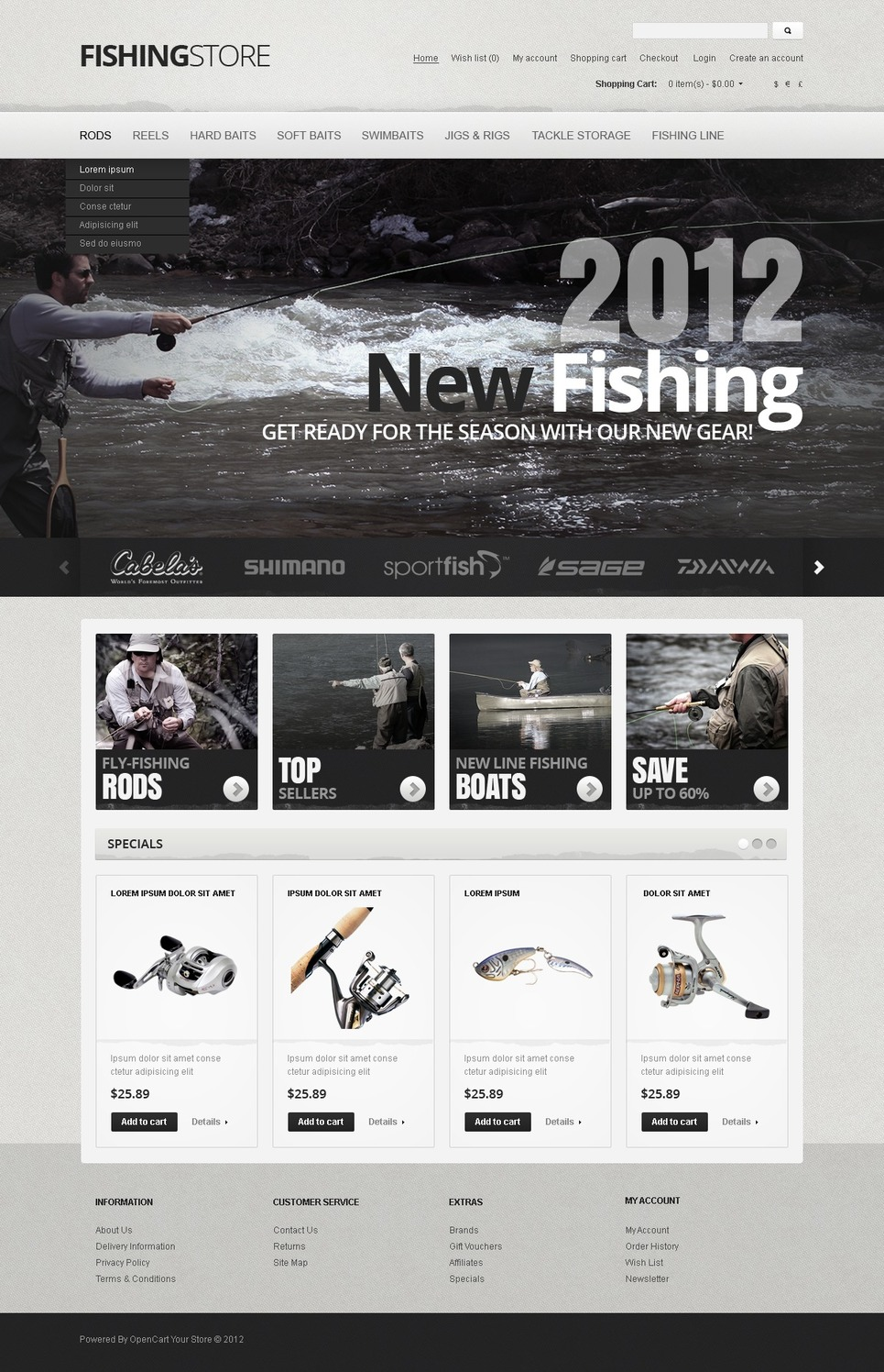 Fisherman's Arsenal OpenCart Template New Screenshots BIG