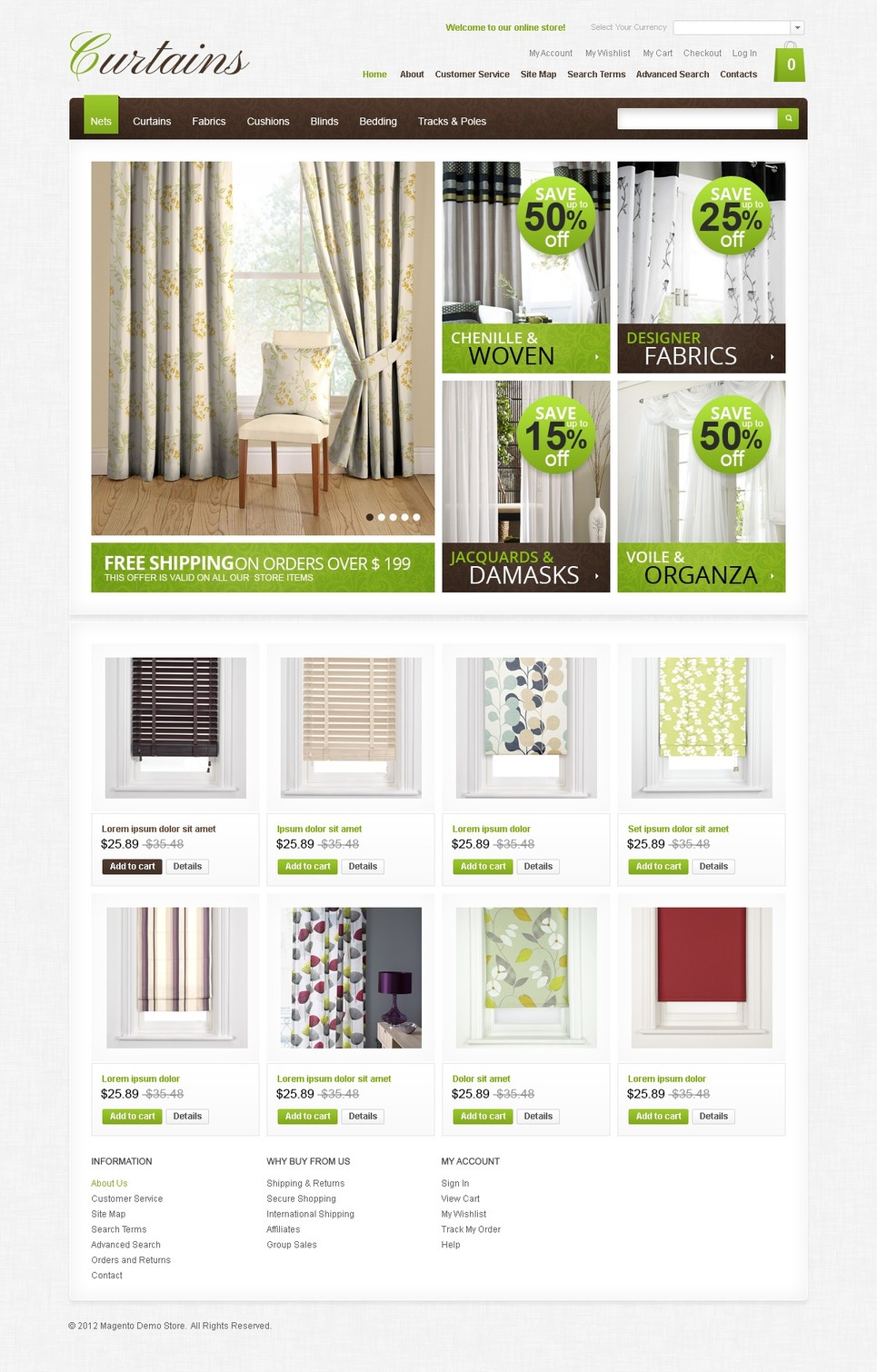 Blinds & Curtains Magento Theme New Screenshots BIG