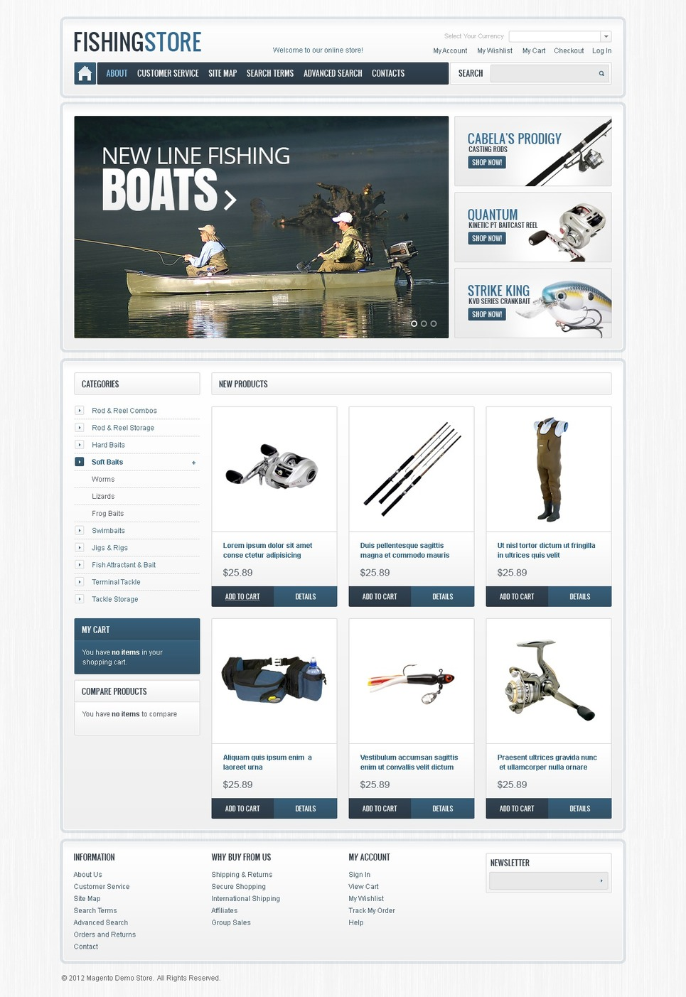 Pro Fishing Magento Theme New Screenshots BIG