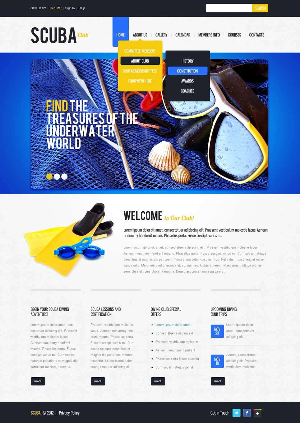 Diving Website Template New Screenshots BIG